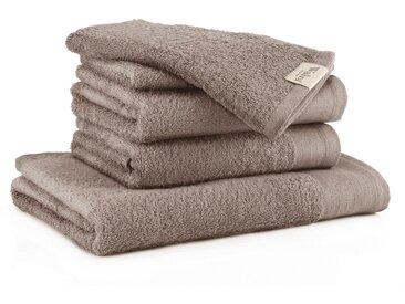 Walra Handtuch Set »Soft Cotton« (Set, 5-tlg), mit gewebter Bordüre, braun, taupe
