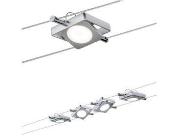 Paulmann LED Deckenleuchte »Wohnzimmerlampe LED 4x4W MacLED 230V/12V DC Chrom matt«, Seilsystem