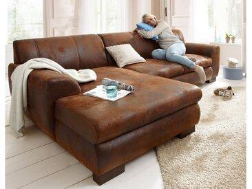 Home affaire Ecksofa »Nika«, MELROSE®, Microfaser oder Struktur, braun, ohne Bettfunktion, mokka