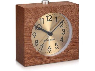 Navaris Reisewecker Analog Holz Wecker mit Snooze - Retro Uhr Quadrat mit Ziffernblatt in Gold Alarm Licht - Leise Tischuhr ohne Ticken - Naturholz