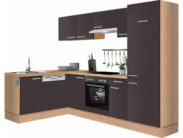 OPTIFIT Winkelküche »Odense«, mit E-Geräten, Stellbreite 275 x 175 cm, mit 28 mm starker Arbeitsplatte, mit Gratis Besteckeinsatz, grau, Anthrazit