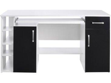 Schreibtisch »Tim«, mit 5 Fächern und Tastaturauszug, weiß, weiß-schwarz