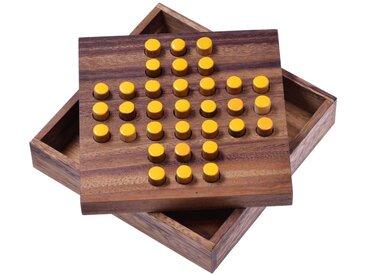 Logoplay Holzspiele Spiel, Solitär Gr. L - Solitaire - Steckspiel - Denkspiel - Knobelspiel - Geduldspiel - Logikspiel aus Holz - gelbe Stecker