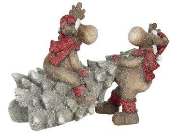 Clayre & Eef Tierfigur » Dekofigurs Rentieren mit Weihnachtsba«