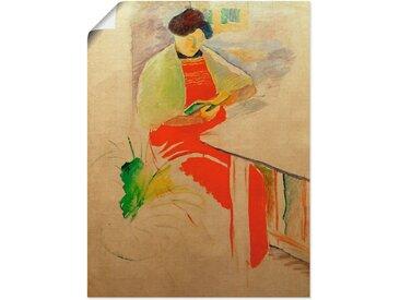 Artland Wandbild »Frau mit roter Schürze auf Balkon (Elisabeth)«, Frau (1 Stück), in vielen Größen & Produktarten -Leinwandbild, Poster