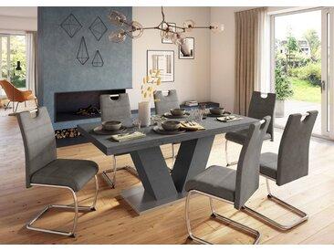 Esstisch »Komfort D«, mit V-Gestell in graphit und mit Auszugsfunktion, Breite 180-280 cm, grau, graphit