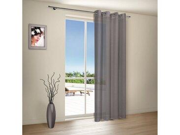 Gerster Vorhang »DENISE Ösenschal halbtransparent 140 / 235cm Weiß aus Webware«, Ösenschal aus Webware, schwarz, Anthrazit