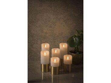 KONSTSMIDE LED Echtwachskerze mit 3D Flamme, weiß, Höhe 13,5cm, Lichtquelle warm-weiß, Messing