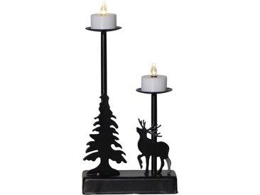 """STAR TRADING Kerzenleuchter »LED-Leuchter """"Walder"""" - 2 flammig - warmweiße LED - L: 13cm, H: 27cm - Timer - Batterie - schwarz«"""