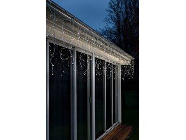 KONSTSMIDE LED Eisregen Lichtervorhang mit Lichtsensor und Timer, weiß, Lichtquelle warm-weiß, Weiß