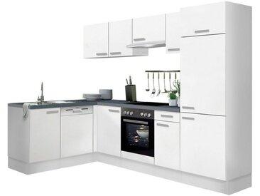 OPTIFIT Winkelküche »Odense«, mit E-Geräten, Stellbreite 275 x 175 cm, mit 28 mm starker Arbeitsplatte, mit Gratis Besteckeinsatz, weiß, weiß
