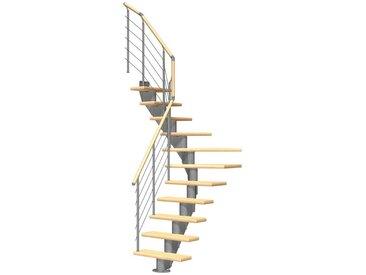 Dolle DOLLE Mittelholmtreppe »Frankfurt Birke 65«, bis 258 cm, Edelstahlgeländer, versch. Ausführungen, natur, 1/4 gewendelt, natur