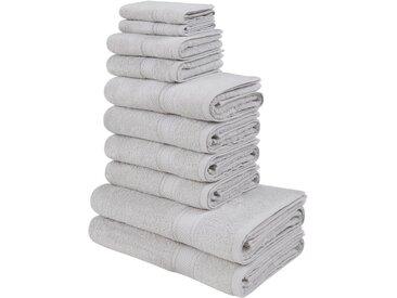 my home Handtuch Set »Moni« (Set, 10-tlg), in Premium-Qualität, grau, hellgrau