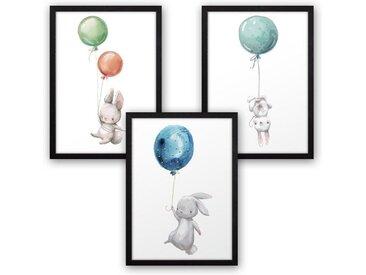 Kreative Feder Poster, Hase, Häschen, Luftballon, Aquarell, Zeichnung, Kinderzimmer (Set, 3 Stück), 3-teiliges Poster-Set, Kunstdruck, Wandbild, wahlw. in DIN A4 / A3, 3-WP026