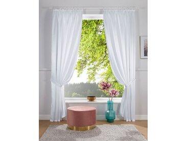 DELAVITA Vorhang »Glanzsatin«, Kräuselband (1 Stück), Inklusive Raffhalter, weiß, weiß