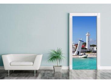 Bilderdepot24 Deco-Panel, Türaufkleber Leuchtturm in Puerto Morelos Mayan Riviera - Mexiko