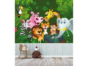 Bilderdepot24 Fototapete, Kinderbild Dschungeltiere Cartoon IV, selbstklebendes Vinyl, bunt, Kinderbild Dschungeltiere Cartoon IV, bunt