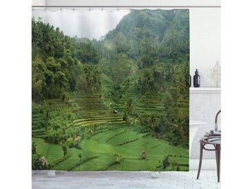 Abakuhaus Duschvorhang »Moderner Digitaldruck mit 12 Haken auf Stoff Wasser Resistent« Breite 175 cm, Höhe 180 cm, Tropisch Reisfelder