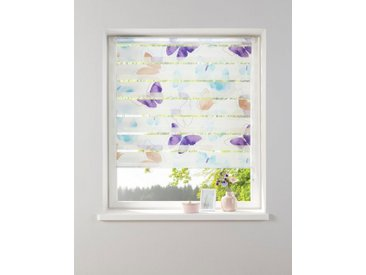 my home Doppelrollo »Santo«, Lichtschutz, ohne Bohren, freihängend, im Fixmaß, weiß, lila-türkis