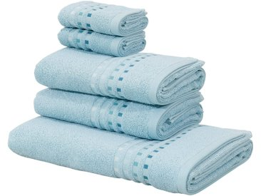 Home affaire Handtuch Set »Kelly« (Set, 5-tlg), mit Farbverlauf in Bordüre, blau, hellblau