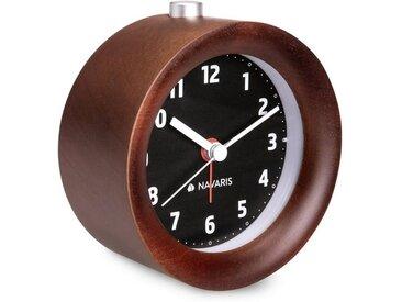 Navaris Reisewecker Analog Holz Wecker mit Snooze - Retro Uhr Rund mit Design Ziffernblatt Alarm Licht - Leise Tischuhr ohne Ticken - Naturholz