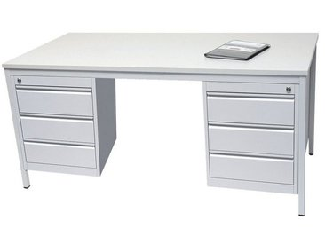 Arbeitstisch 160 cm mit Schubladenschrank, grau, grau