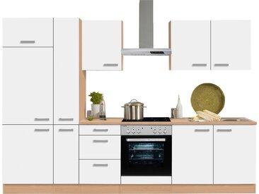 OPTIFIT Küchenzeile »Odense«, mit E-Geräten, Breite 300 cm, mit 28 mm starker Arbeitsplatte, mit Gratis Besteckeinsatz, weiß, weiß
