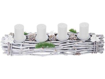 MCW Adventskranz »T783-L«, Mit 4 Kerzenhaltern, Aufwendig geschmückt, weiß, weiß, weiße Kerzen