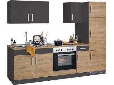 HELD MÖBEL Küchenzeile »Gera«, ohne E-Geräte, Breite 270 cm, grau, eiche/anthrazit