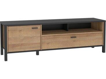 expendio TV-Board »Hector 1«, Schwarz / Riviera Eiche Nb. 152x50x41 cm auf Metallbeinen