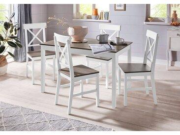 Homexperts Essgruppe »Milow«, (Set, 5-tlg), aus Massivholz, bestehend aus Esstisch Breite 118 cm und 4 Stühlen, grau, weiß-grey washed