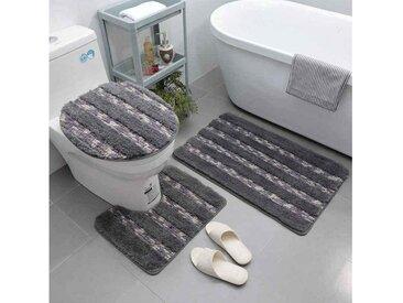 Arkmiido Badaccessoires-Sets , Badezimmer Set, rutschfeste Badematte und WC-Vorleger-Set, schnelltrocknend, weich, wasserabsorbierend,WC-Garnitur