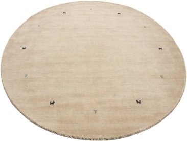 carpetfine Wollteppich »Gabbeh Uni«, rund, Höhe 15 mm, handgewebt, weiß, weiß