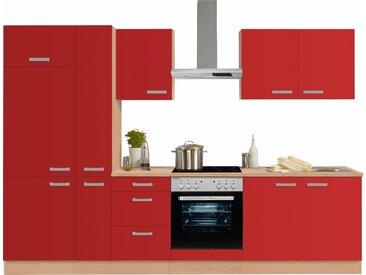OPTIFIT Küchenzeile »Odense«, ohne E-Geräte, Breite 300 cm, mit 28 mm starker Arbeitsplatte, mit Gratis Besteckeinsatz, rot, rot
