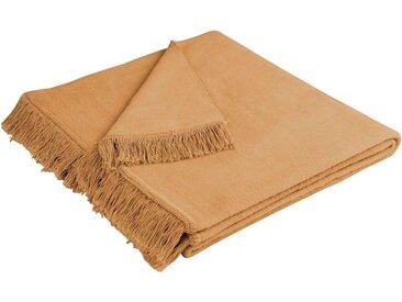 BIEDERLACK Sesselschoner »Cotton Cover« , mit Fransen, braun, Baumwolle-Polyacryl, kamel