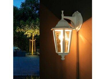 Licht-Erlebnisse Außen-Wandleuchte »VELENCE Außenwandleuchte Weiß Glas rustikal Laterne Garten Lampe«