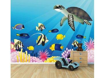 Bilderdepot24 Deco-Panel, Fototapete - Kinderbild Unterwasser Tiere II, bunt, Farbig