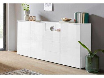 borchardt Möbel Highboard »Savannah«, Breite 200 cm, weiß, weiß-HG-weiß-Riffel-MDF-Hochglanz