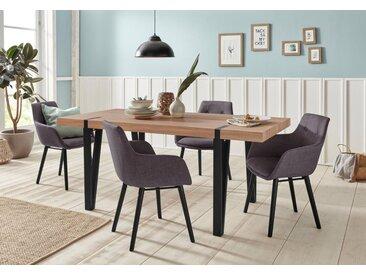 Essgruppe »Sanchez und Bradford«, (Set, 5-tlg), mit Tisch, Breite 180 cm, braun, eichefarben sägerau-Anthrazit