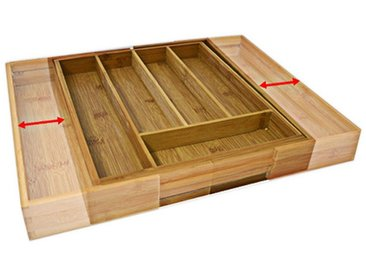 relaxdays Besteckkasten »Besteckkasten Bambus 45cm ausziehbar«