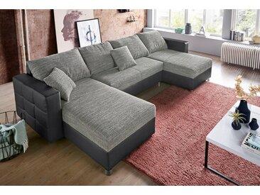 sit&more Wohnlandschaft, inklusive Bettfunktion und Bettkasten, Recamiere beidseitig montierbar, grau, schwarz-grau - grau