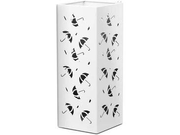 COSTWAY Schirmständer »Schirmständer Schirmhalter«, mit 2 Haken quadratisch, weiß, quadratisch, Weiß