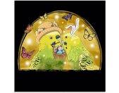 Artland Glasbild »Wellensittiche im Oster Stil«, Ostern (1 Stück), orange