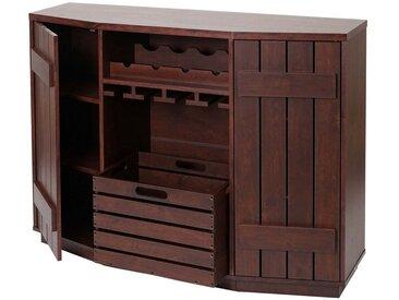 MCW Weinregal »-F67«, Höhenverstellbare Einlegeböden, 1x Kiste herausnehmbar, Halterungen für Flaschen und Gläser, braun, braun