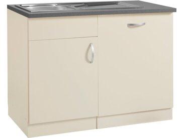 wiho Küchen Spülenschrank »Amrum« 110 cm breit, inkl. Tür/Sockel für Geschirrspüler, gelb, Vanillefarben/Vanillefarben