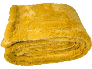 TOM TAILOR Plaid »Fleecy«, in weicher Felloptik, gelb, gelb