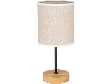 OTTO products Tischleuchte »Emmo«, Hochwertiger Textilschirm, Leuchtenfuß aus Holz und Metall, Naturprodukt, Nachhaltig mit FSC®-Zertifikat