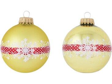 Krebs Glas Lauscha Weihnachtsbaumkugel »CBK40129« (4 Stück), mit Banddekoration