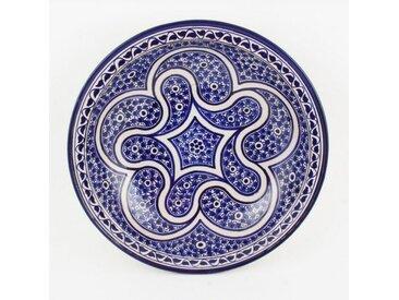Casa Moro Dekoteller » Orientalischer Keramik Teller Schale bunt Ø 34 cm, handbemalte Keramikschale marokkanische Schüssel Obstschale Servierschale