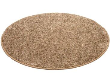 Andiamo Teppich »Shaggy uni«, rund, Höhe 15 mm, Wohnzimmer, natur, taupe